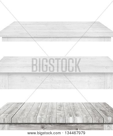 White and different style wooden table tops are on white background.