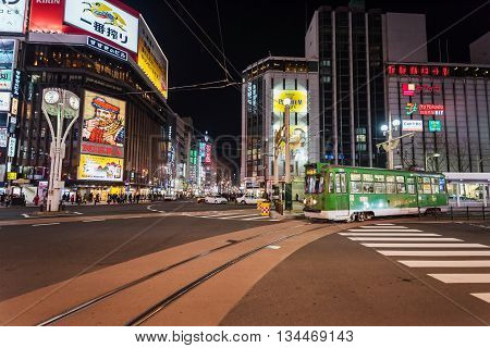 City Tram At Susukino Intersection