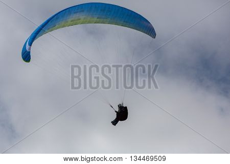 CALDELAS, PORTUGAL - JUNE 4: Paragliding Festival Aboua Cup de Caldelas 2016, in the north of Portugal, 4 June, 2016, Caldelas, Portugal.