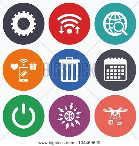 Wifi, mobile payments and drones icons. Globe magnifier glass and cogwheel gear icons. Recycle bin delete and power sign symbols. Calendar symbol.
