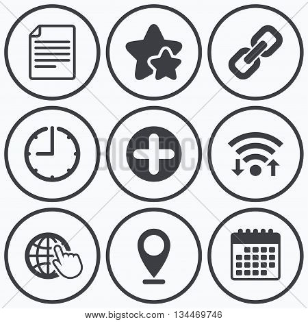 Clock, wifi and stars icons. Plus add circle and hyperlink chain icons. Document file and globe with hand pointer sign symbols. Calendar symbol.