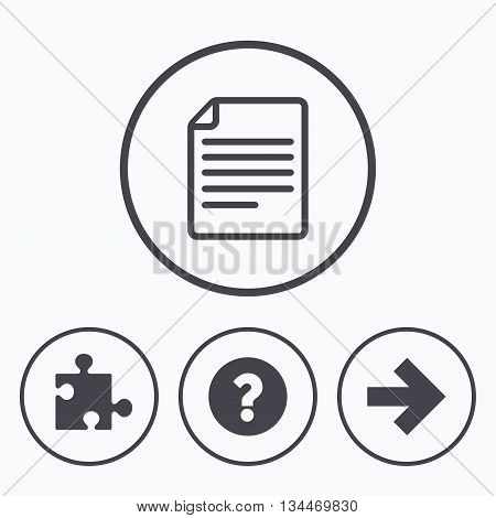 Question mark and puzzle piece icons. Document file and next arrow sign symbols. Icons in circles.