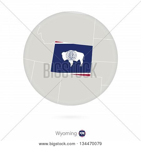 Map Of Wyoming State And Flag In A Circle.