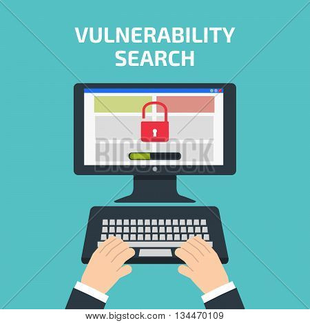 Vulnerability Search Decktop. Vulnerability Search Concept