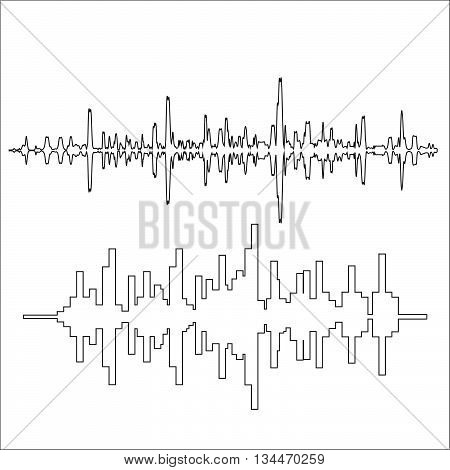 Vector sound waves thin lines. Stock vector. Vector illustration.