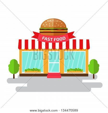Fast food shop of flat style building. Vector illustration.