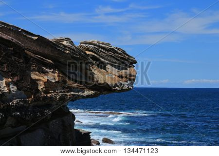 Rock shaped by wind and weather. Pacific coast. Scene near Maroubra Beach Sydney