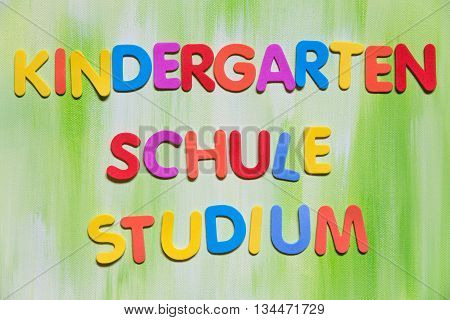 Colorful Letters, German Words, Concept Education