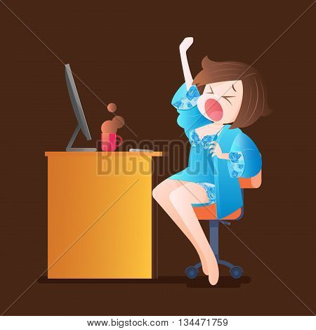 Woman working overtime in the home, Vector