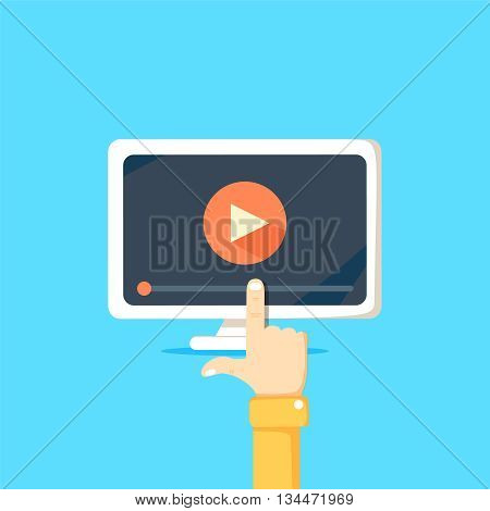 Online video concept. Internet video illustration. Distance training videos. Online learning design. Video conference and webinar image. Study using video online. Streaming video.