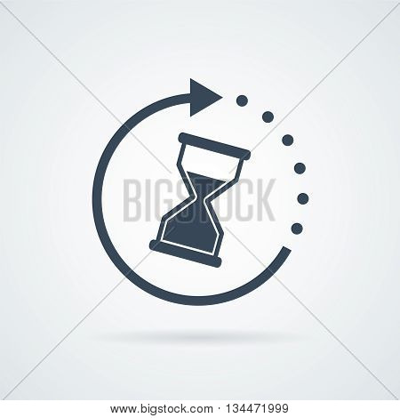 Time icon vector illustration isolated on white background with a shadow
