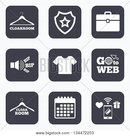Mobile payments, wifi and calendar icons. Cloakroom icons. Hanger wardrobe signs. T-shirt clothes and baggage symbols. Go to web symbol.