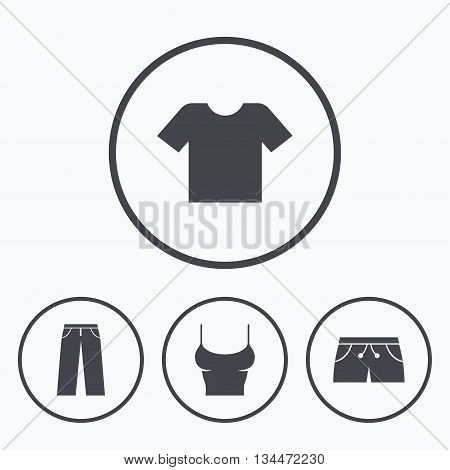 Clothes icons. T-shirt and pants with shorts signs. Swimming trunks symbol. Icons in circles.