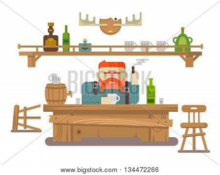 Interior of the bar. Stern man and alcohol beer, tavern or pub, flat vector illustration
