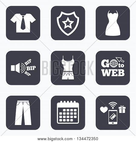 Mobile payments, wifi and calendar icons. Clothes icons. T-shirt with business tie and pants signs. Women dress symbol. Go to web symbol.