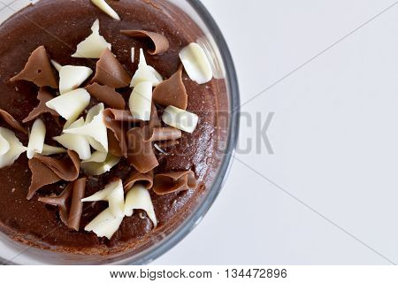 Glass of Chocolate Mousse in light  and dark chocolate