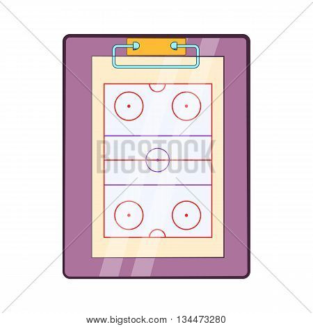 Tablet coach with tactical placement of teams icon in cartoon style on a white background
