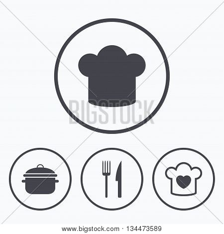 Chief hat and cooking pan icons. Fork and knife signs. Boil or stew food symbols. Icons in circles.