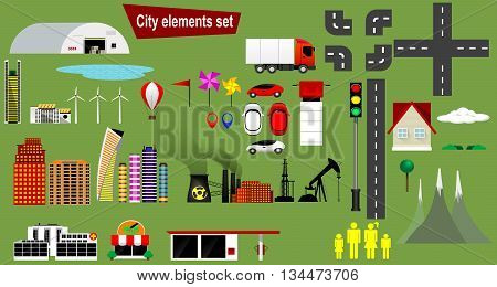 Cityscape design elements with lake, road, park, transport, people, office buildings, hospital, truck, trees set, gas station, shop, factory. May be used for web site, brochure design, infographics template, map, vector illustration