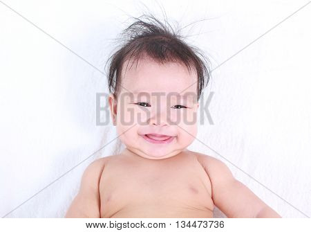 Cute and healthy baby with white background