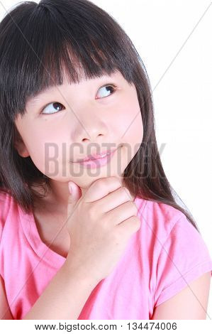 Young cute girl thinking isolated on white