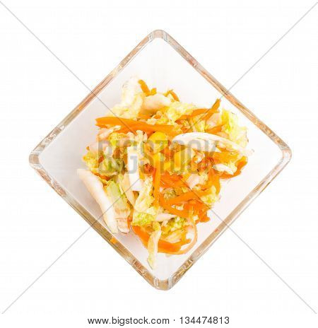 Fresh coleslaw salad with corn. Isolated on a white background.