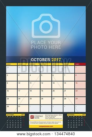 October 2017. Wall Calendar For 2017 Year. Vector Design Print Template With Place For Photo. Dark B