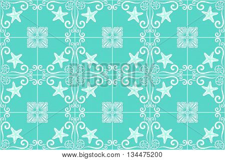 Ornate sea themed portuguese and brazilian tiles azulejos with starfish and shells in turquoise color. Spanish talavera tiles. Vintage pattern. Abstract background. Vector illustration, eps10.