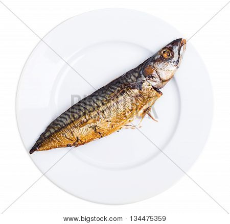 Delicious roasted mackerel fish on ceramic plate. Isolated on a white background.