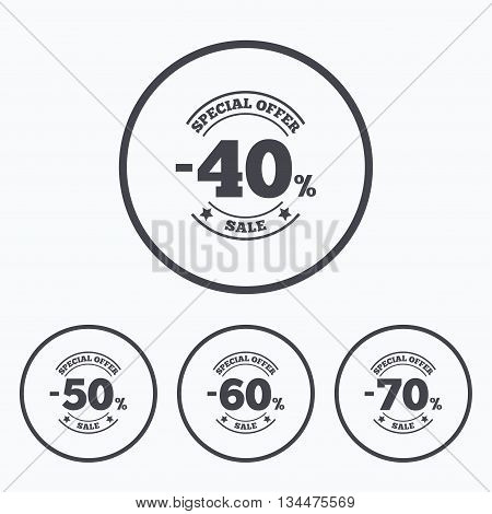 Sale discount icons. Special offer stamp price signs. 40, 50, 60 and 70 percent off reduction symbols. Icons in circles.