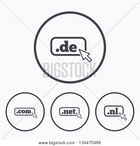 Top-level internet domain icons. De, Com, Net and Nl symbols with cursor pointer. Unique national DNS names. Icons in circles.
