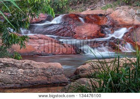 Beautiful Waterfall Flowing Over Rocks in the Interior of Brazil
