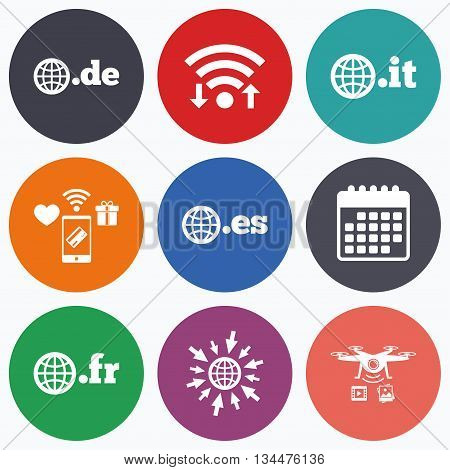 Wifi, mobile payments and drones icons. Top-level internet domain icons. De, It, Es and Fr symbols with globe. Unique national DNS names. Calendar symbol.