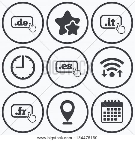 Clock, wifi and stars icons. Top-level internet domain icons. De, It, Es and Fr symbols with hand pointer. Unique national DNS names. Calendar symbol.