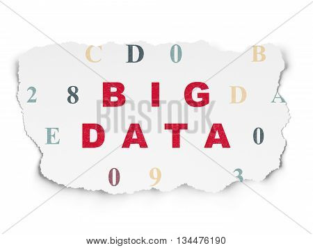 Information concept: Painted red text Big Data on Torn Paper background with  Hexadecimal Code
