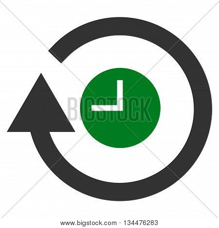 Repeat Clock vector icon. Style is bicolor flat icon symbol, green and gray colors, white background.