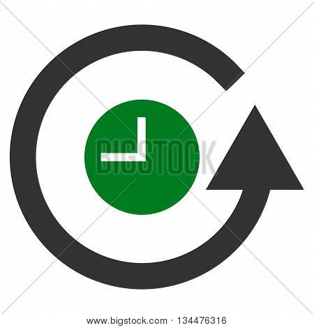 Restore Clock vector icon. Style is bicolor flat icon symbol, green and gray colors, white background.