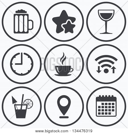 Clock, wifi and stars icons. Drinks icons. Coffee cup and glass of beer symbols. Wine glass and cocktail signs. Calendar symbol.