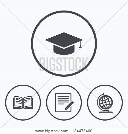 Pencil with document and open book icons. Graduation cap and geography globe symbols. Learn signs. Icons in circles.