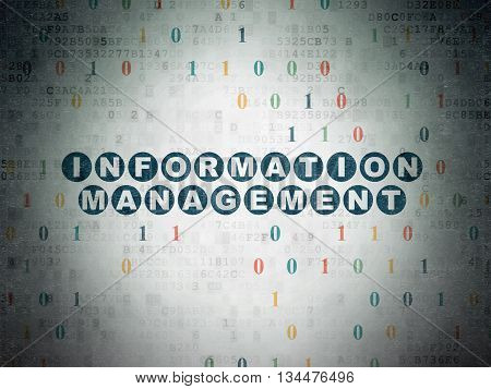 Information concept: Painted blue text Information Management on Digital Data Paper background with Binary Code