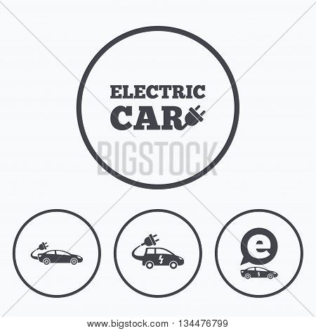 Electric car icons. Sedan and Hatchback transport symbols. Eco fuel vehicles signs. Icons in circles.