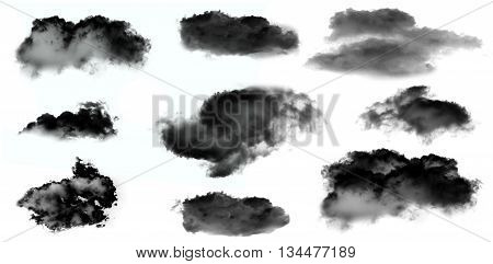 Black smoke clouds isolated over white background set. Black clouds illustration set