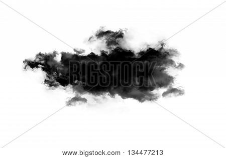 Smoky cloud isolated over white background. Inkblot on white paper
