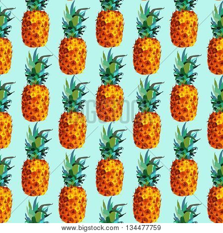 Modern summer seamless pattern; colorful pineapple fruit background in flat color art syle. EPS10 vector.