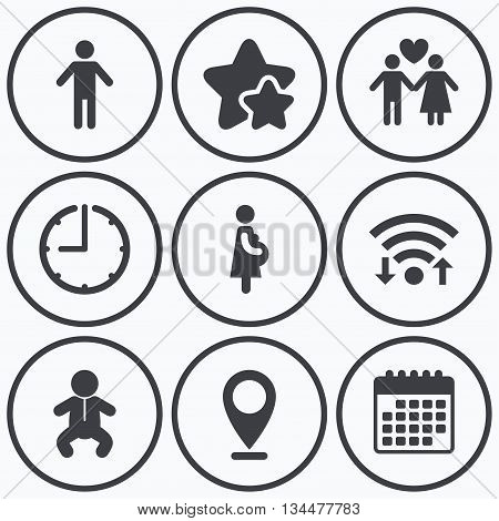 Clock, wifi and stars icons. Family lifetime icons. Couple love, pregnancy and birth of a child symbols. Human male person sign. Calendar symbol.