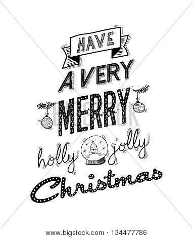 Merry Christmas Happy Wish Lettering Design