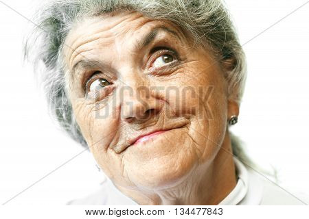 Old woman smiling face on white background