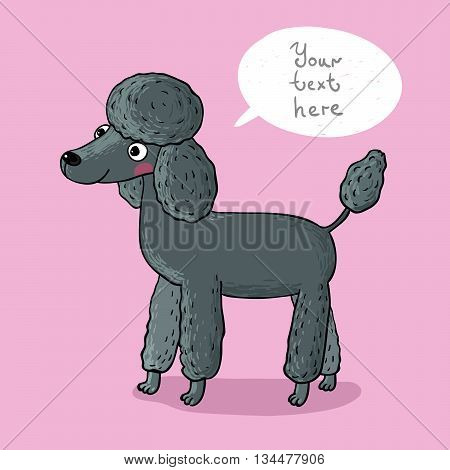 Illustration with cartoon poodle. Hand drawing isolated objects on pink background. Vector illustration.