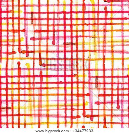 red Tartan fabric texture. Seamless pattern. Watercolor illustration.