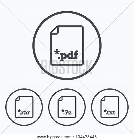 Download document icons. File extensions symbols. PDF, RAR, 7z and TXT signs. Icons in circles.